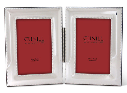 Cunill Rope Hinged Double 4x6 Silver Plated Picture Frame