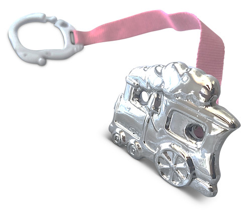 Cunill Train Sterling Silver Baby Pacifier Clip with Pink Ribbon