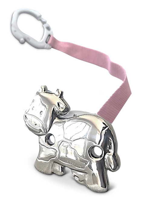 Cunill Cow Sterling Silver Baby Pacifier Clip with Pink Ribbon