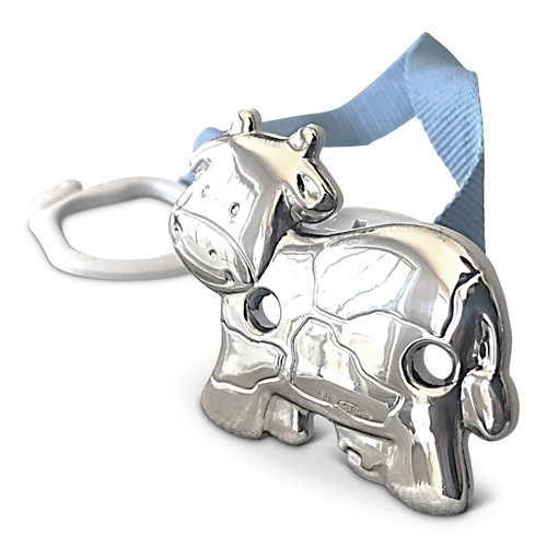 Cunill Cow Sterling Silver Baby Pacifier Clip with Blue Ribbon