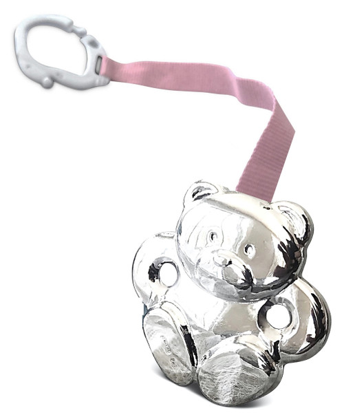 Cunill Teddy Bear Sterling Silver Baby Pacifier Clip with Pink Ribbon