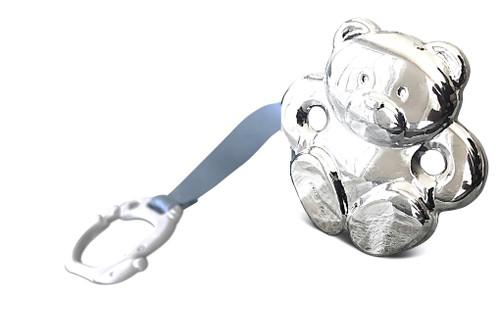 Cunill Teddy Bear Sterling Silver Baby Pacifier Clip with Blue Ribbon