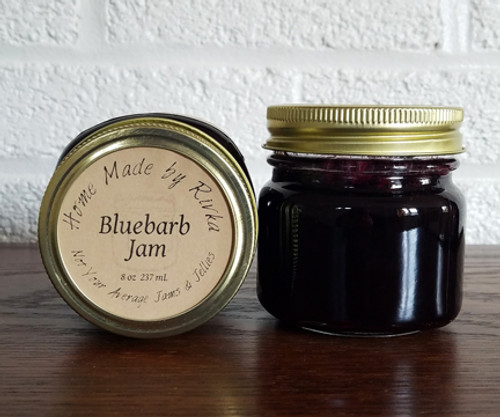 Bluebarb Jam; a unique blend of Maine blueberries and locally sourced rhubarb.