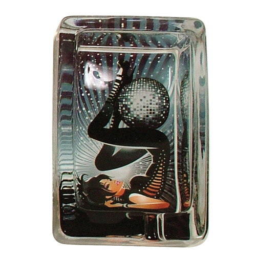 Glass Ashtray Mirror Ball Black/White