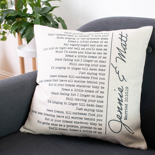 Personalised Wedding First Dance Song Cushion