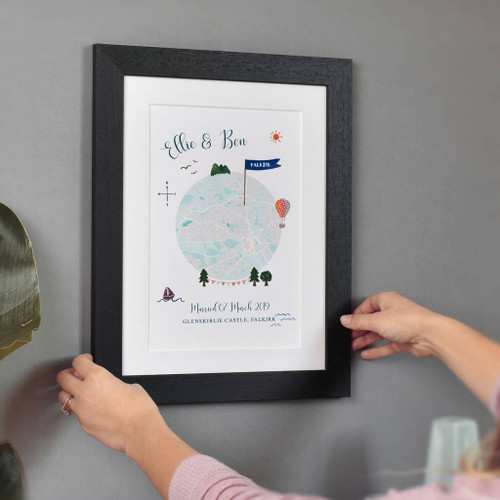 Personalised Wedding Location Map Print With Black Frame