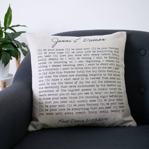 'First Dance' Song Cushion