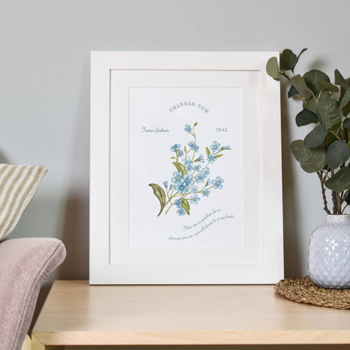 Personalised Forget Me Not Remembrance Print White Frame