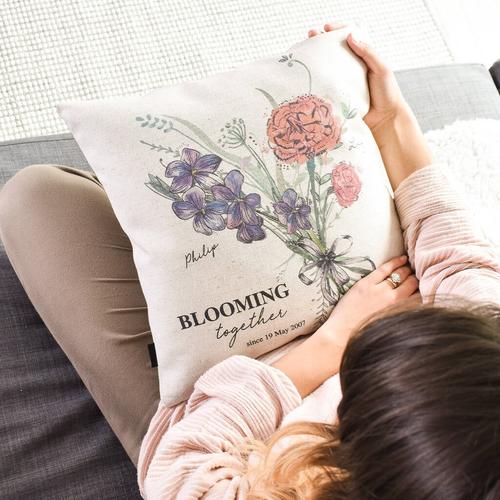 Birth Month Flower Couple Cushion