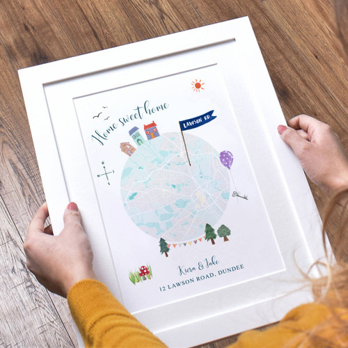Personalised Home Sweet Home Map Print White Frame