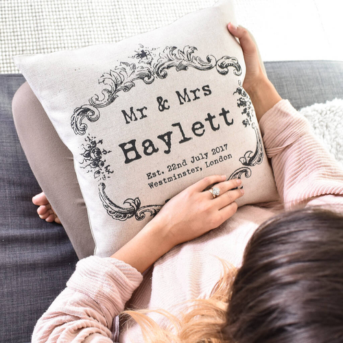 Vintage Style 'Mr And Mrs' Cushion