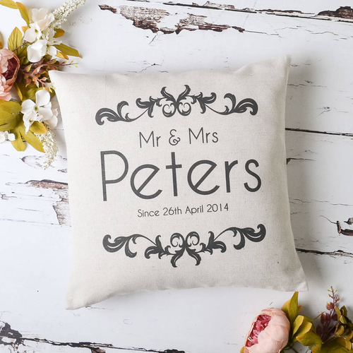 'Mr And Mrs' Vintage Cushion