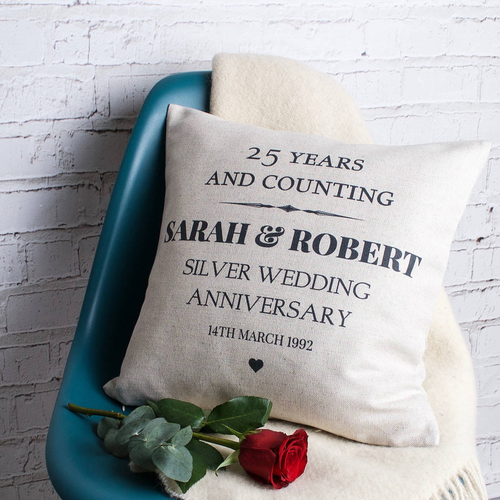 Silver Wedding Anniversary Cushion
