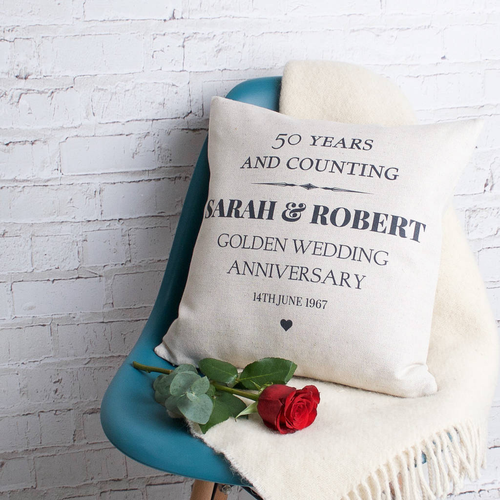 Golden Wedding Anniversary Cushion