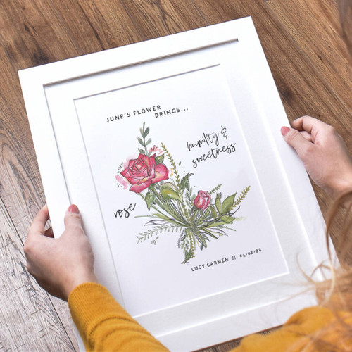 Birth Month Flower Print White Frame
