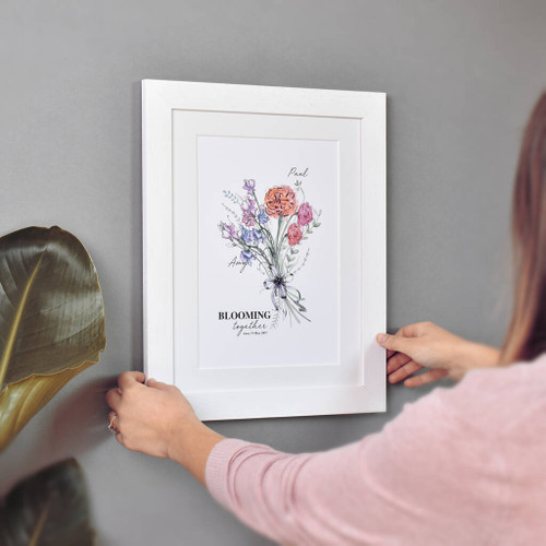 Birth Month Flower Couple Print White Frame