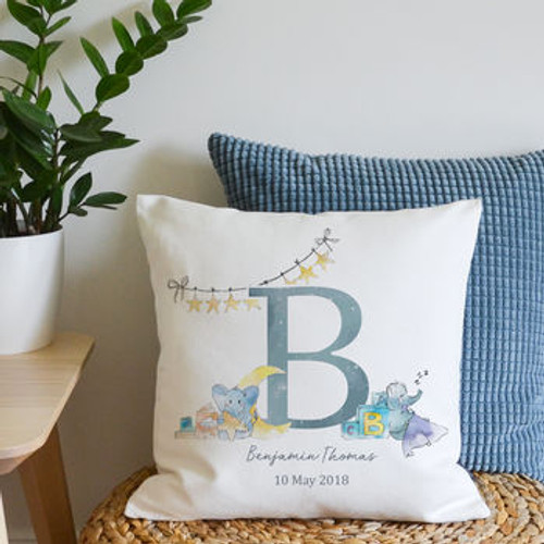 New Baby Initial Cushion Blue