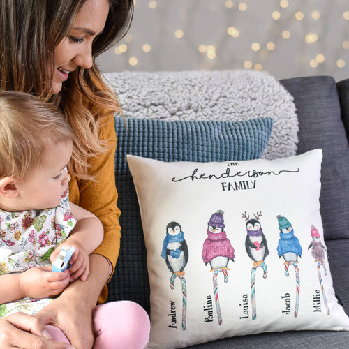 Christmas Penguin Family Cushion