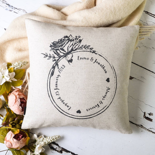 Engagement Ring Personalised Couple Cushion