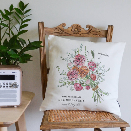 1st Anniversary Flower Bouquet Cushion