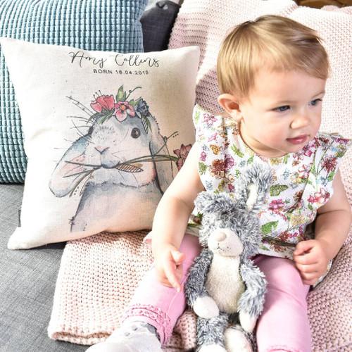 Watercolour Bunny Personalised Cushion