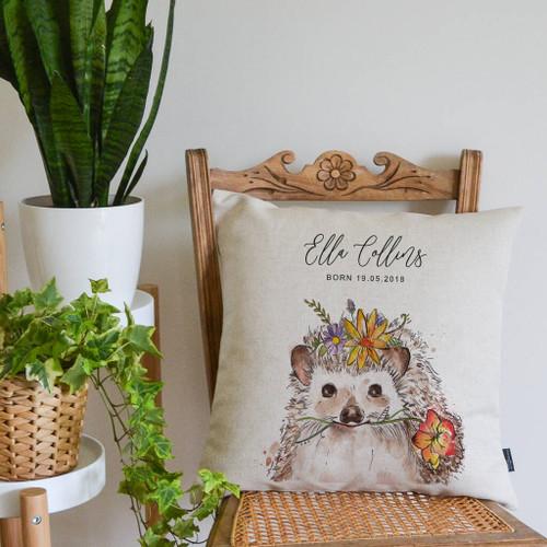 Watercolour Hedgehog Personalised Cushion