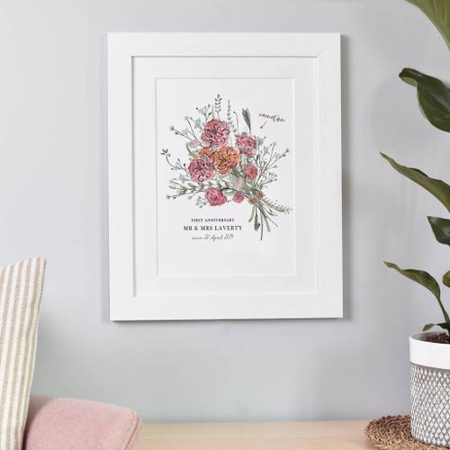 1st Anniversary Flower Bouquet Print