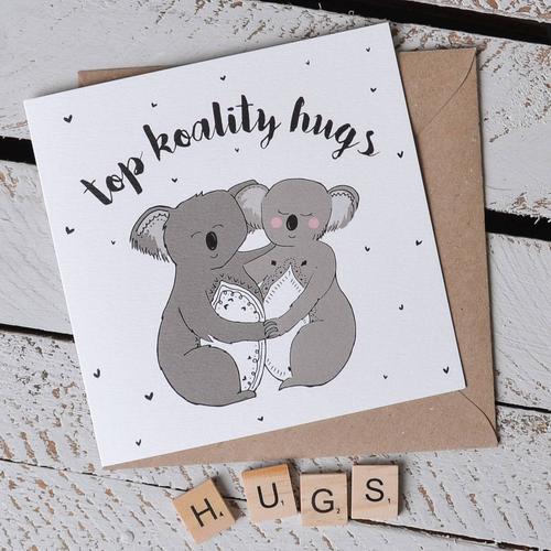 'Top Koality Hugs' Koala Pun Card