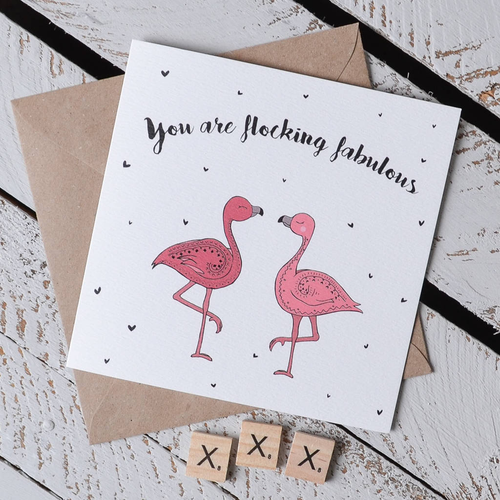 'You Are Flocking Fabulous' Flamingo Pun Card