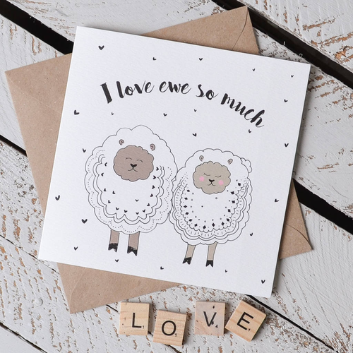 'I Love Ewe So Much' Sheep Pun Card