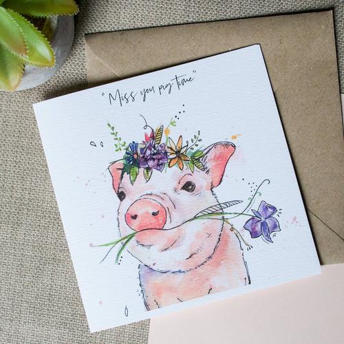 Watercolour Pig Card