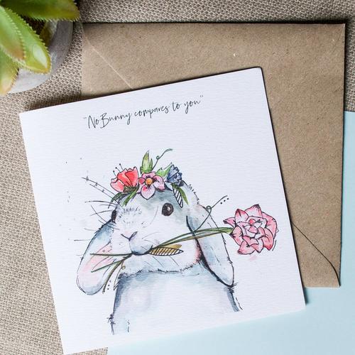 Watercolour Bunny Card