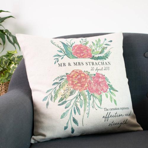 1st Wedding Anniversary Flower Cushion