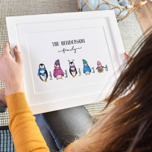 Christmas Penguin Family Print