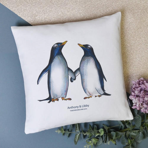 Personalised Penguin Couple Cushion