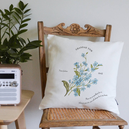 Personalised Forget Me Not Remembrance Cushion