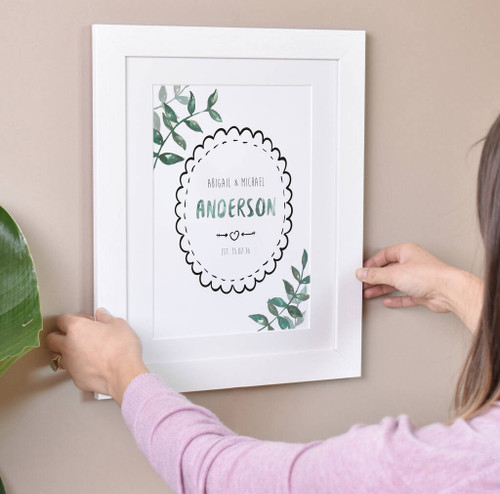 Personalised Couple Print White Frame
