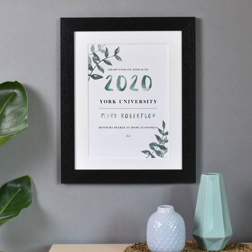 Personalised Graduation Print Black Frame