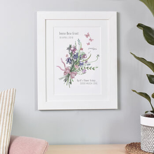 New Baby Birth Month Flower Print