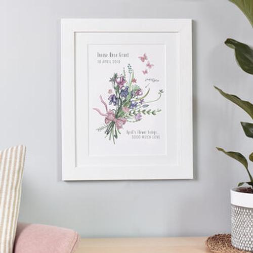 New Baby Birth Month Flower Print