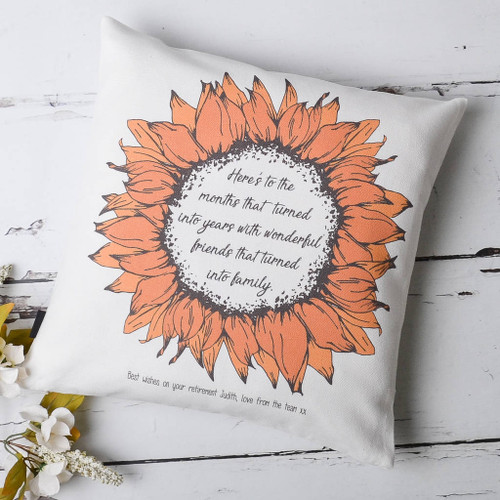 Retirement Sunflower Personalised Cushion