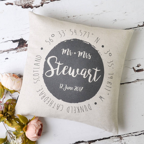 Wedding Mr And Mrs Location Cushion