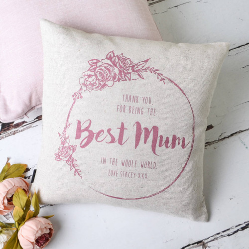 Best Mum Personalised Floral Cushion