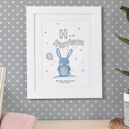 Personalised Initial Bunny Print