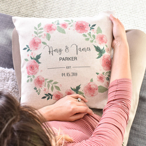 Mr And Mrs Floral Wedding Anniversary Cushion