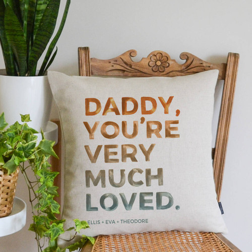 'You're Very Much Loved' Dad Cushion Orange