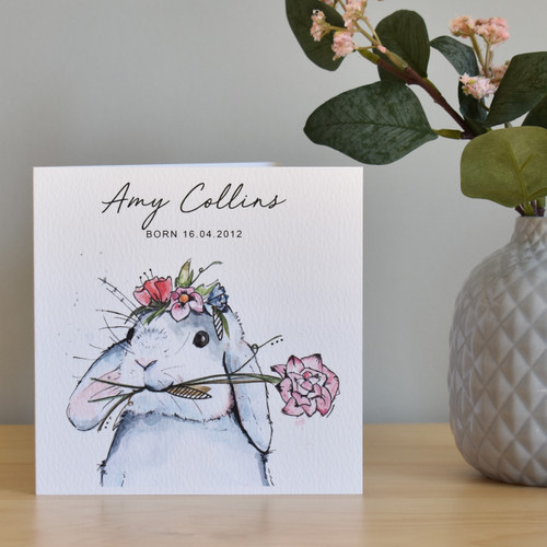 Watercolour Baby Bunny Card