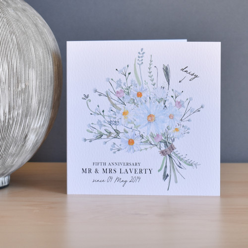5th Anniversary Flower Bouquet card