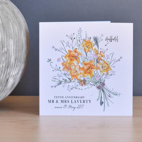 10th Anniversary Flower Bouquet Card