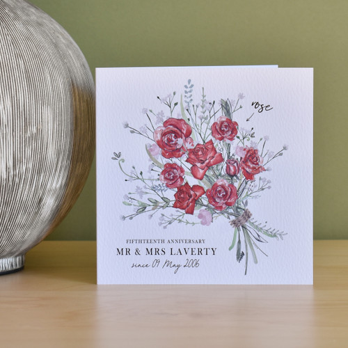 15th Anniversary Flower Bouquet Card